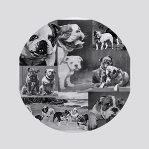 Vintage Bulldog Collage Ornament (Round)