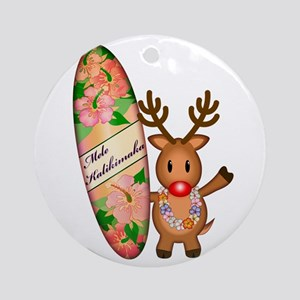 Reindeer with board Ornament (Round)