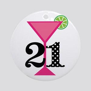 21st Birthday Pink Cocktail Round Ornament