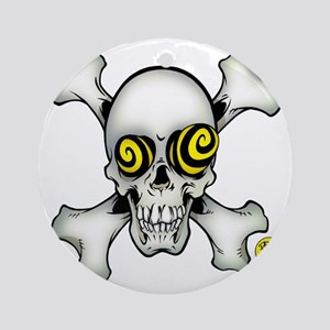 skully and crossbones large Round Ornament