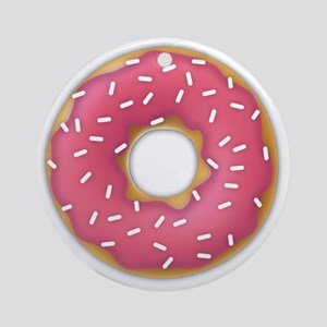 pink frosted sprinkles donut doughn Round Ornament