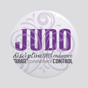 Judo purple scrolls Round Ornament