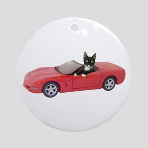 Cat in Red Car Ornament (Round)