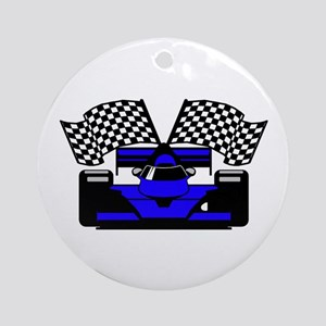ROYAL BLUE RACE CAR Ornament (Round)