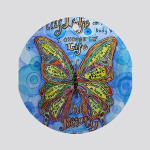 Diabetes Butterfly Ornament (Round)