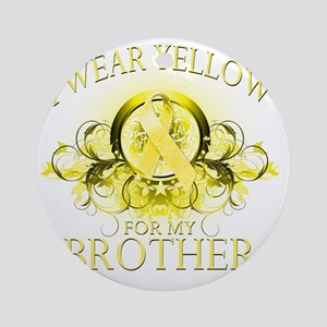 I Wear Yellow for my Brother (flora Round Ornament