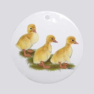 Yellow Ducklings Ornament (Round)