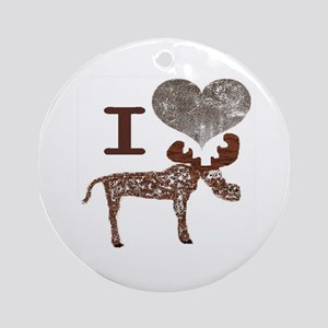 I heart Moose Ornament (Round)
