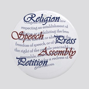 1st Amendment Round Ornament