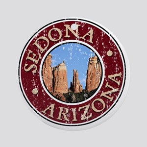 Sedona, Catherdral - Distressed Round Ornament