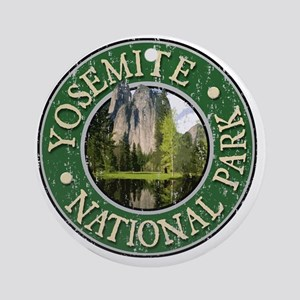 Yosemite Nat Park - Distressed Round Ornament