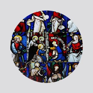 Religious stained glass window coll Round Ornament