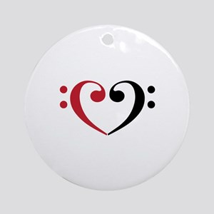 Bass Clef Heart Ornament (Round)