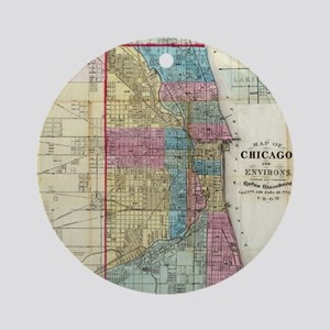 Vintage Map of Chicago (1869) Round Ornament