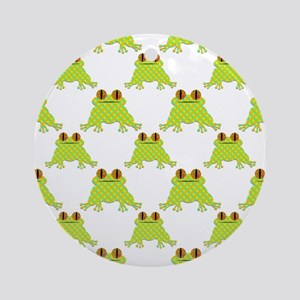 Cute Frog Pattern Round Ornament