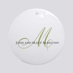 Names and Monogrammed Initial Round Ornament