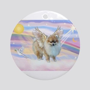 card-clouds-Pom9Angel Round Ornament