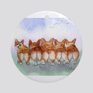 Five Corgi butts Round Ornament