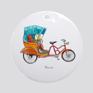 Orange Pedicab Round Ornament