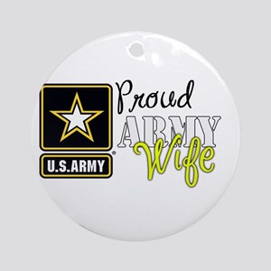 Proud Army Wife Star Round Ornament