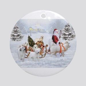 Great Pyrenees and Santa Round Ornament