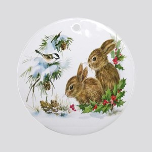 Christmas-Bunnies-Vintage- Round Ornament
