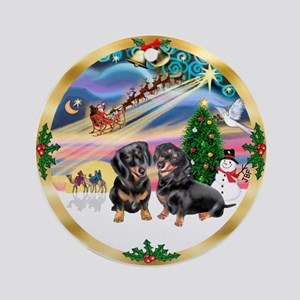 W-XmasMagic-Dachs-Two black Round Ornament