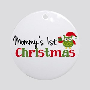 Mommys 1st Christmas Owl Round Ornament