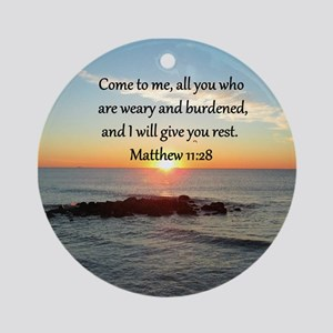 MATTHEW 11:28 Round Ornament