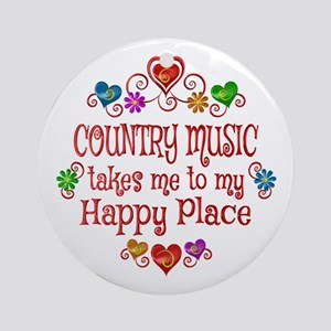 Country Happy Place Round Ornament