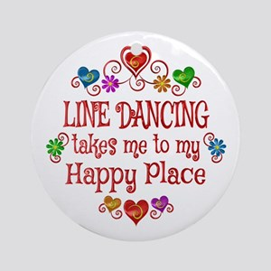 Line Dancing Happy Place Round Ornament
