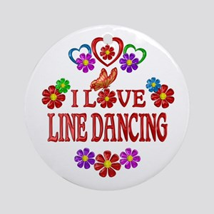 I Love Line Dancing Round Ornament
