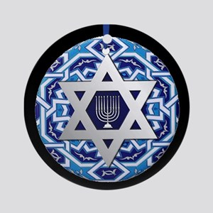 JEWISH STAR AND MENORAH Round Ornament