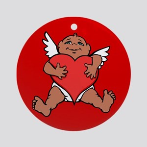 Cute Valentine's Cupid Round Ornament