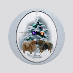 Pomeranian Christmas Round Ornament