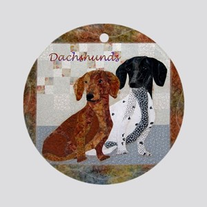 Quilted Dachshunds Ornament (Round)