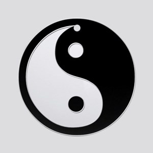 Black Yin Yang Ornament (Round)