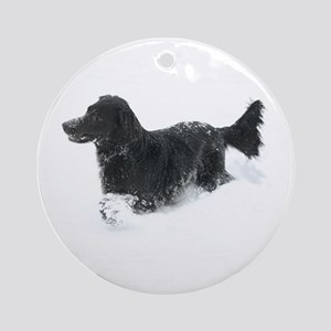 Ornament (Round) - Flat Coated Retriever