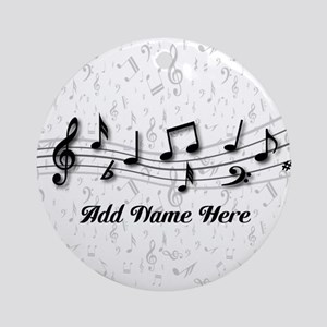 Personalized Musical Notes design Ornament (Round)