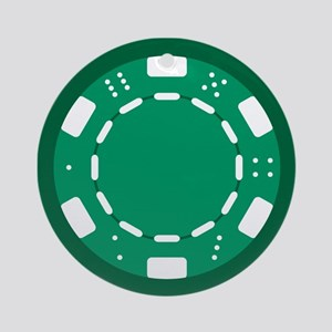 Green Poker Chip Ornament (Round)