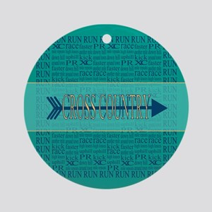 Cross Country Running Collage Blue Ornament (Round
