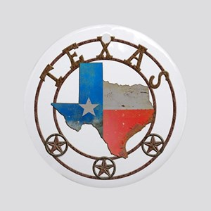 Texas Wrought Iron Barn Art Round Ornament