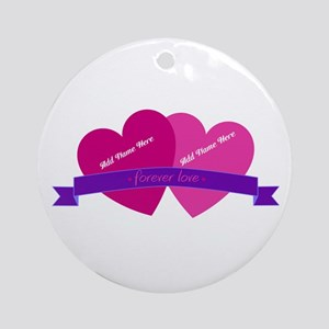 Forever Love Heart Names Ornament (Round)