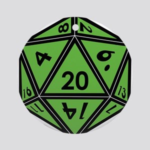 D20 Green Round Ornament