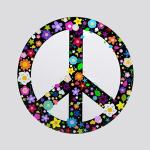 Hippie Flowery Peace Sign Ornament (Round)