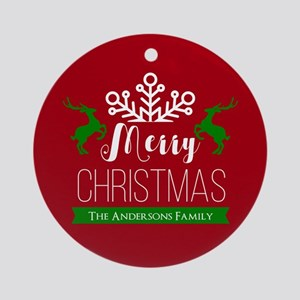 Red and Green Custom Christmas Fami Round Ornament