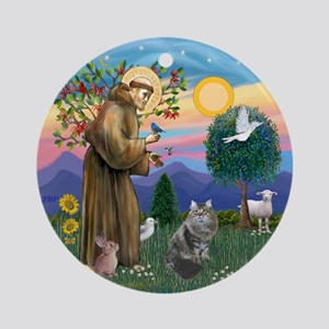 StFrancis - Siberian Cat Ornament (Round)