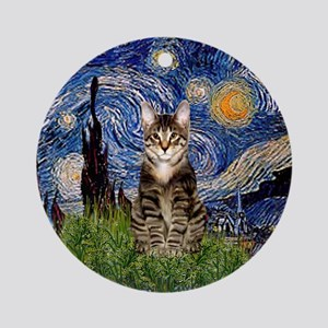 Starry Night Tabby Cat Ornament (Round)