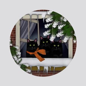 BLACK CATS WINTER WINDOW Ornament (Round)