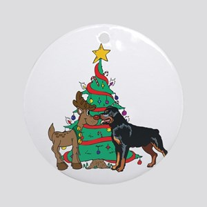 Rottweiler and Reindeer Christmas Ornament (Round)